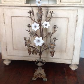 French Candelabra with white opaline flowers (2)