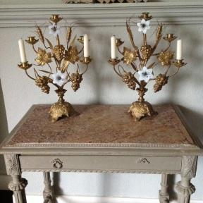 2 French candelabras with white opaline flowers