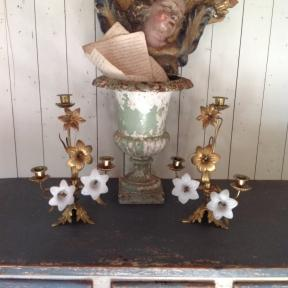 French candelabra's  with white opaline flowers