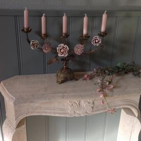 French Candelabra with palepink flowers